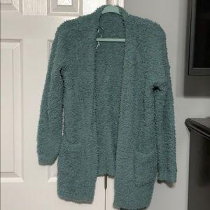 Green FUZZY cardigan